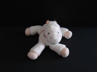 White Plush Pony Horse Baby Toy Rattle Lovey Doll