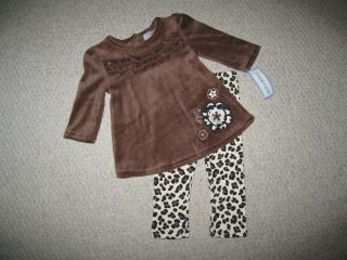 "New ""Brown Leopard Bloom"" Pants Girls Clothes 18M Boutique Fall Winter Baby"