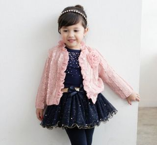 3pcs Baby Girls Infants Kids Toddlers Top Coat T Shirt Skirt Dress Clothes Set