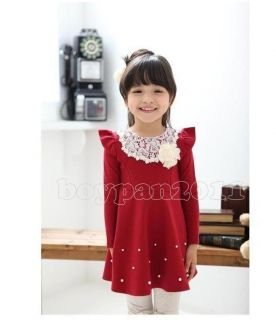 Kids Toddlers Girls Lovely Cotton Long Sleeve Pink Navy Red Tutu Dress AGES2 7Y