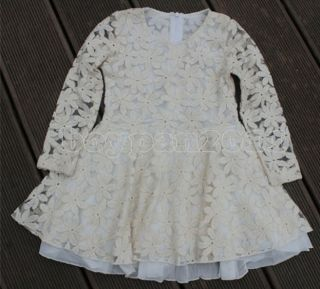 New Kids Girls White Gauze Princess Party Long Sleeve Lace Dress Age 2 7Y