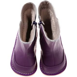 Girls Toddler Infants Childrens Leather Squeaky Boots Purple with Fleecy Inner