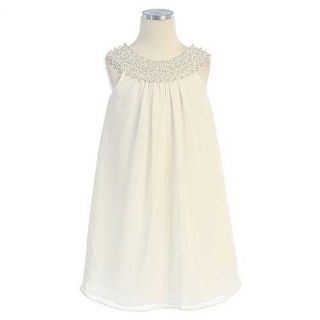 Sweet Kids Girls Size 10 Ivory Pearl Neck Chiffon Christmas Dress
