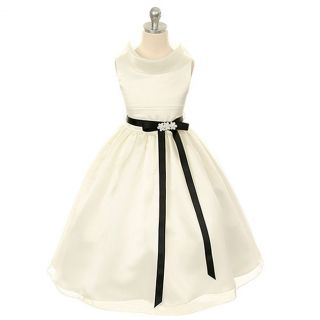Kids Dream Toddler Girls 2T Ivory Satin Organza Flower Girl Dress