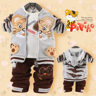 Cool Baby Boy Winter Fall Tiger Outfits Set Suit Coat Outerwear T Shirt Clothes