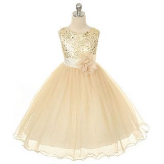 Kids Dream Toddler Girls 2T Gold Sequin Double Mesh Flower Girl Dress