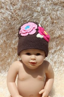 Handmade Cotton Baby Child Girl Flower Knit Hat Photograph Newborn to 3Year New