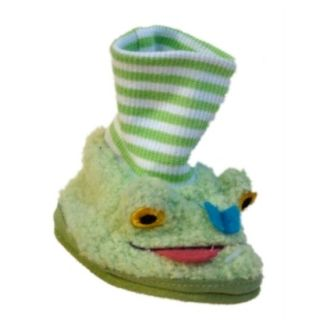 Infant Green Frog Slippers Fuzzy Fur Baby Shoes 1 2