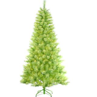 7 5' Pre Lit Lime Green Cashmere Pine Artificial Christmas Tree Green Lights