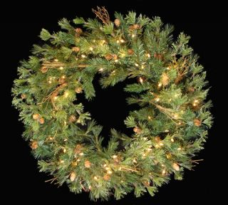 "36"" Pre Lit Mixed Country Pine Artificial Christmas Wreath Clear Lights"