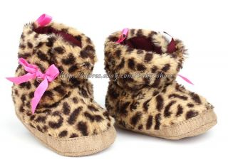 Infant Baby Girl Leopard Boots Crib Shoes Size 3 6 6 9 9 12 Months