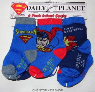 Batman or Superman Infant Baby Boys 6 Pairs Socks Stockings Shoes Super Hero