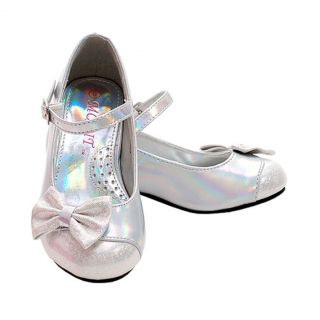 Toddler Girls Size 9 Silver Sparkle Bow Ankle Strap heeled Dress Shoes