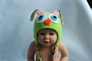 Cute Handmade Knit Baby Girl Owl Hat Beanie New Pink Green 9M 2Year Photo Prop