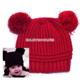New Fashion Korean Baby Love Dual Ball Girls Boys Wool Knit Sweater Cap Hat