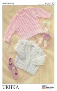 Baby DK Double Knitting Pattern Long Sleeved Cardigans Ribbed Detail Ukhka 52