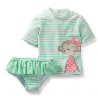 Carters Baby Girl Clothes Swimwear Swimsuit Green Monkey 12 18 24 Months