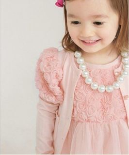 Spring New Kids Toddler 3D Lace Flower Cardigan Dress 2pcs Girls Outfit Set 2 7Y