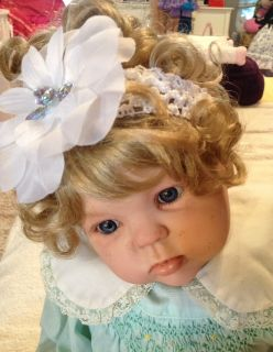 Reborn Baby Girl Toddler Doll Cute Blonde Curls Pierced Ears French Manicure