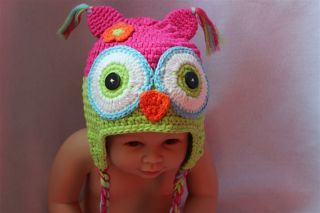 Cute Gorgeous Baby Toddler Owl Hat Beanie Pink Green New Newborn to 3 Year Gift