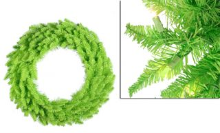 "24"" Pre Lit Lime Green Ashley Spruce Christmas Wreath"