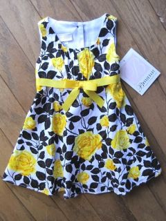 Baby Girls White Dress Yellow Roses Black Bonnie Baby Infant 12 24 Months