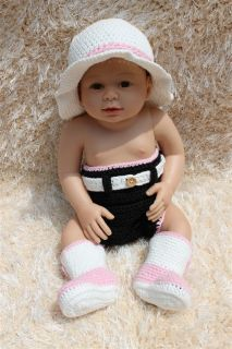 New Cute Handmade Knit Crochet Cowboy Baby Hats Boots Nappy Newborn Photo Prop