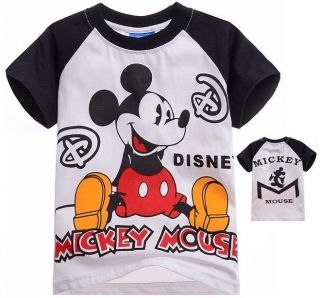 New Kids Boys Girls Funny Mickey Mouse Short Sleeve Tops T Shirts 7 8 Years 140