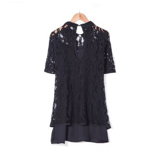New Womens European Fashion Lace Hollow Short Sleeve Mini Dress Black B1413