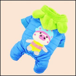 Warm Cute Pig Pet Dog Clothes Costume Glossy Velvet Inside Jumpsuit XS s M L XL