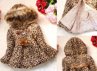 Baby Girl Faux Fur Leopard Hoody Clothes Kid Winter Warm Jacket Hoodies Clothing