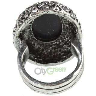 Vintage Unqion Women Ring Size 10 Exquisite Black Star Style Oval Lansha Stone