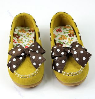 1pair Non Slip Sole Cute Suede Children Kids Princess Girl Polka Dot Bow Shoes