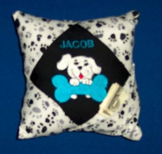 Personalized Tooth Fairy Pillow Puppy Dog Design