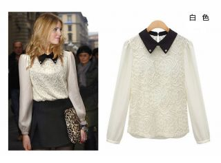 New Womens European Fashion Rhinestone Collar Lapel Lace Long Sleeve Shirt L208