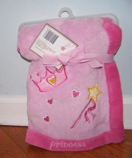 Pink Little Princess Wand Hearts Crown Soft Baby Girl Fleece Blanket