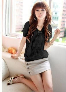 Elegant Womens Black Chiffon Baby Shirt Tops Short Sleeve Ruffles Shirt Blouse