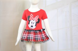 New Cute Baby Girls Minnie Clothes Summer Short Sleeved Red Dress for 1 6Years