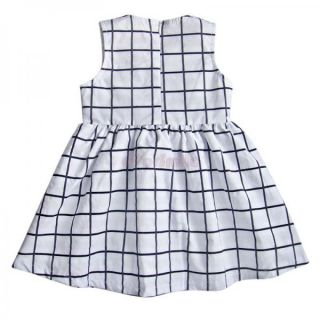 Baby Newborn Girl Kid Cotton Tops Plaids Bowknot Dress Outfit Clothes Skirt 0 3Y