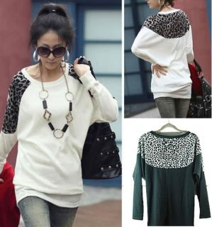 New Fashion Womens Batwing Tops Long Sleeve Casual Blouse Leopard Print T Shirt