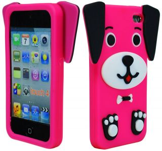 Cute Hot Pink 3D Dog Animal Silicone Case Cover for iPod Touch 4th Generation