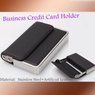 Mens Business Card Case Holder Stainless Steel and Artificial Leather Wallet New