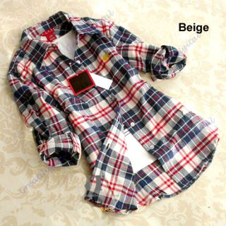 Women Girl Casual Lapel Button Down Plaids Pattern Cotton Shirt Tops Blouse New