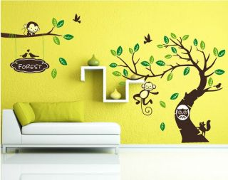 Large Tree Monkey Owl Baby Nursery Room Decor Wall Stickers Vinyl Art Decals