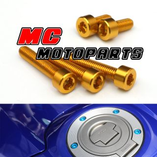 Gold Yamaha Gas Petrol Fuel Cap Bolts Screws FZ 1 XJ 6 600 1000 06 07 08 10