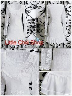 Kawaii Fashion Dolly Sweet Lolita Cute Princess Women White Flowers Lace Dress