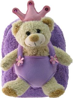 Kreative Kids Soft Plush Purple Backpack Princess Bear for Little Ones