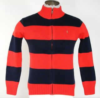 Ralph Lauren Red Blue Zip Front Long Sleeve Sweater Boys Large L 14 16