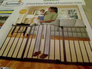 Summer Infant Stylish N' Secure 6 Foot Extra Tall Metal Expansion Gate $129 99