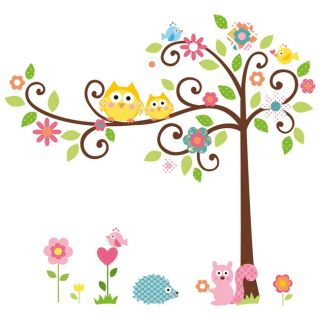 Owl Tree Animal Wall Sticker Decal Removable Kids Children Nursery Baby Bedroom